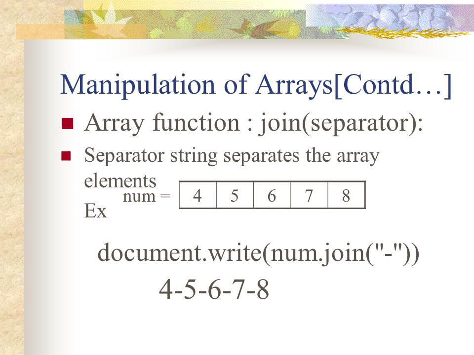 Manipulation of Arrays[Contd…]